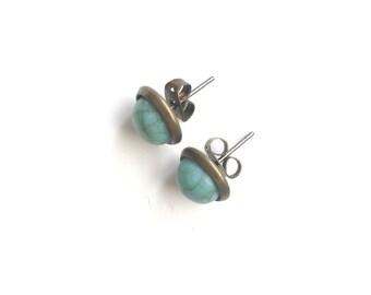 Round Teal Stud Earrings Christmas Gift Idea