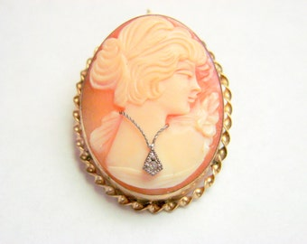Cameo 10K Gold Diamond Brooch Pendant / Antique / En Habille / Hand Carved / Vintage Jewelry / Jewellery