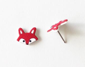 Little Red Fox Earrings, Red Woodland Fox Stud Earrings