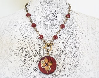 Textile Necklace, Fabric Jewelry, Burgundy Fiber Necklace, Statement Necklace, Embroidery Vintage Millinery, Fabric Button Jewelry veryDonna