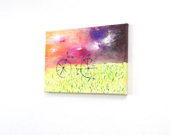 Acrylic paintings original Inspirational paintings on canvas Bicycle painting Bike painting Bicycle wall art Inspirational canvas artwork