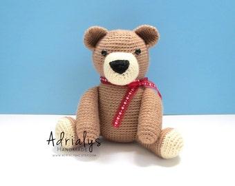 Valentine's Day- Crochet Brown Teddy Bear- Stuffed Bear- Woodland Animals- Forest- Handmade Bear- Crochet Toy- Toy Plush- Ready to Ship