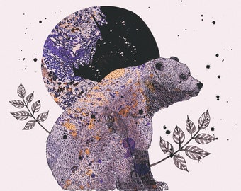 Woodland Forest Series, Illustration Art Giclee Print 'Bear & Moon'
