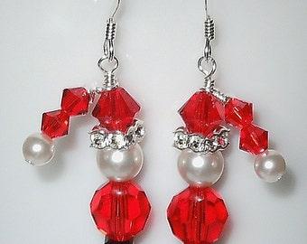 Adorable Christmas Santa Earrings Made with Swarovski Crystal and Pearl Beads.
