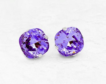 Purple Crystal Earrings, Tanzanite Purple Swarovski Crystal Post Earrings, Pretty Purple Crystal Earrings, Cushion Cut Crystal Stud Earrings
