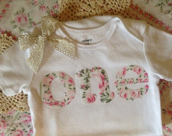 Shabby Chic 1st Birthday Outfit | 'one' Bodysuit || PICK YOUR FABRIC || First Birthday Girl Cake Smash Shirt | 1 Year Old Birthday Girl