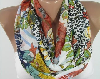Leopard Scarf Floral Scarf Soft Chiffon Scarf Summer Scarf Infinity Scarf Circle Scarf Loop Scarf Women Fashion Scarf Gift For Her For Mom