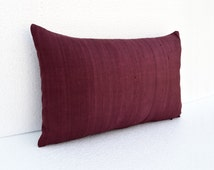 "Silk pillow, wine color,  maroon lumbar pillowcover, size 12""X20"", other sizes available"