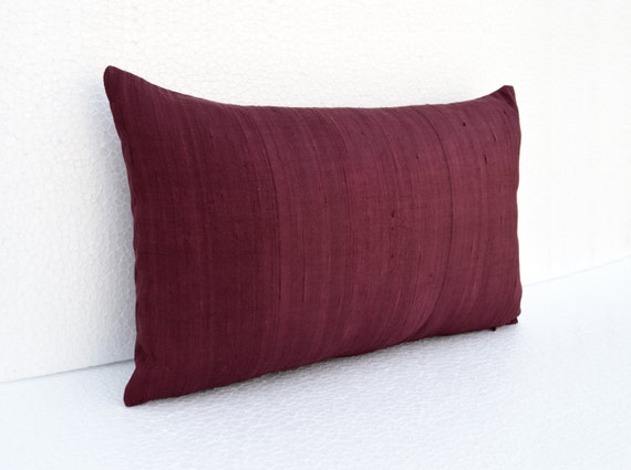 Silk Pillow Wine Color Maroon Lumbar Pillowcover Size