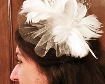 Ivory & White Floral Feather Wedding Hair Comb, Beaded with Shimmery Tulle and Russian Netting - Whimsical and Unique Bridal Hair Accessory