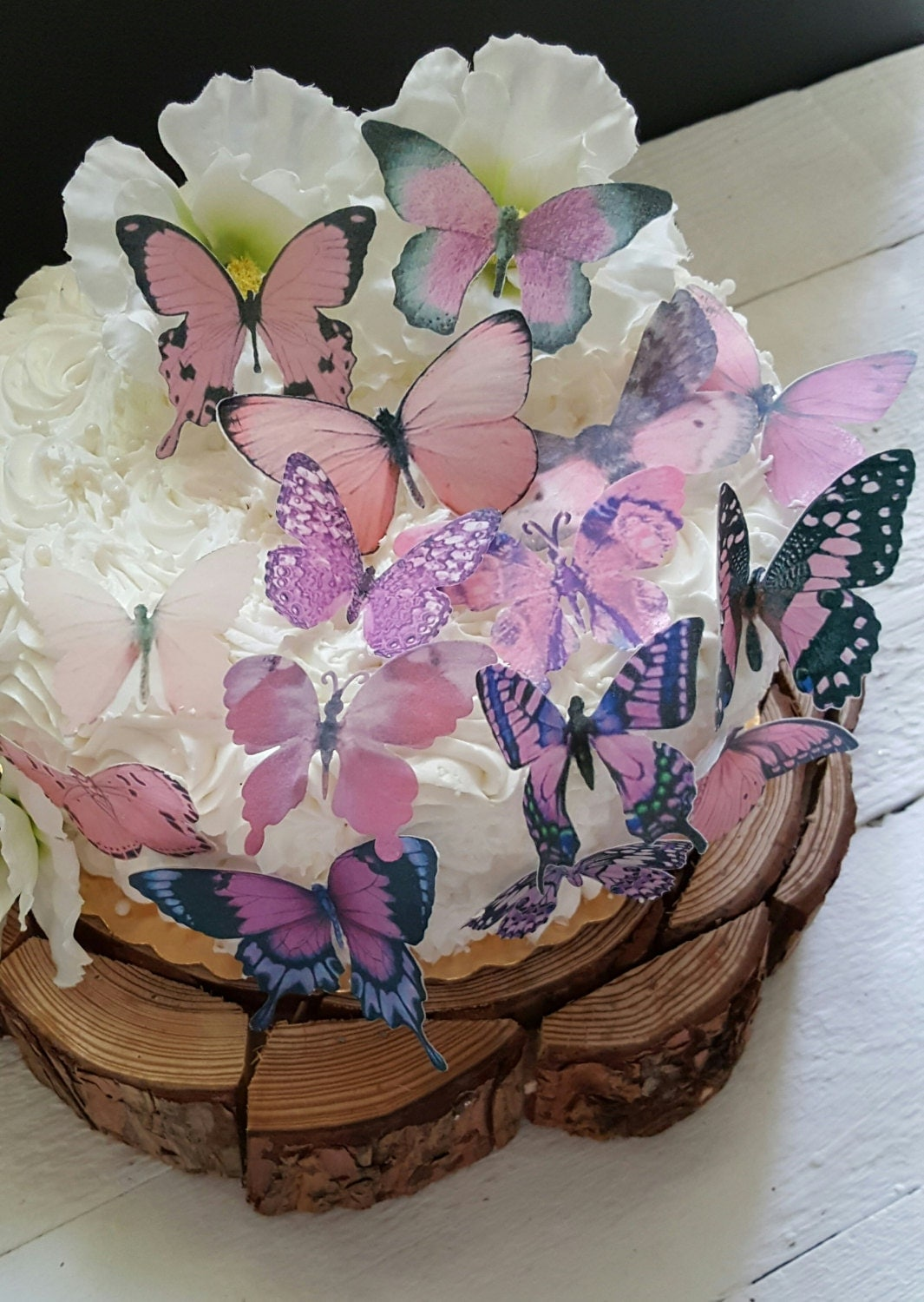 Butterfly Edible Cake Images : Edible Butterflies Garden Pink Cake/ Cupcake topper Set of