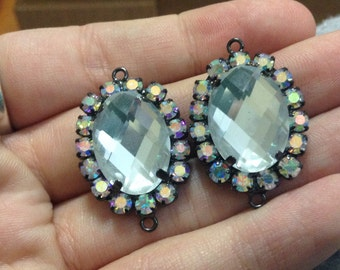 Swarovski crystal large oval pineapple cut gem links with halo