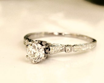 Antique Edwardian Engagement Ring 0.26ct Old European Cut VS1 Diamond Ring 18K White Gold Wedding Ring Size 5.5