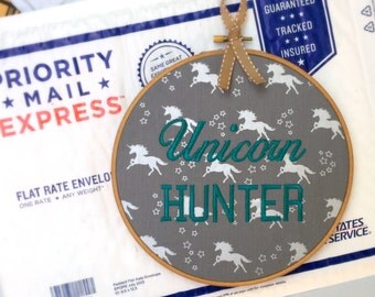 Unicorn Hunter - Lularoe Sign Wood Embroidery Hoop Wall Art from The Funny Stitch - READY TO SHIP Gift for Consultant or Customer
