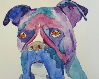 boxer dog paintings, dog portraits of boxers,Dog pet portraits, watercolour dogs, prints of dogs, abstract dog art.