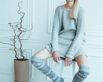 20% OFF Over Knee High Winter Pattern Knit Wool Thick Socks, Woman Leg Warmers, Grey & White