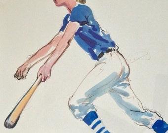 Leroy Neiman Lithograph Boy Playing Baseball