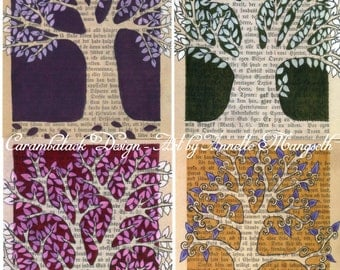 Postcard set - Trees - Perfect for any occation - 4 Art postcards