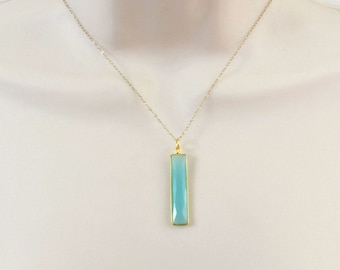 Minimal Necklace, Stone Necklace, Dainty Gold Necklace, Vertical Bar Necklace, Pendant Necklace, Gemstone Necklace,Gifts under 50,Aquamarine