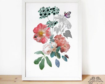 Floral Collage - digital art print