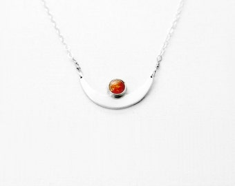 Crescent Moon Necklace with 5 mm Sunstone in sterling silver