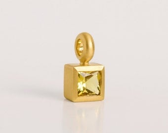 22 kt Gold Pendant Yellow Gemstone Pendant, Square Bezel Pendant Solitaire, Square Beryl Necklace 22k November Birthstone