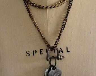 Vintage dog tags and Tiffany charm