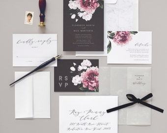 Florence Wedding Invitation & Correspondence Set / Vintage Florals and Marble Accents / Sample Set