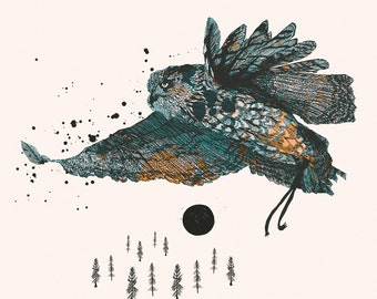 Woodland Forest Series, Illustration Art Giclee Print 'Owl & Sky'