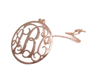 "1.5"" rose gold Personalized Monogram Necklace. Initial monogram necklace,Sterling silver Plated with 18k gold"