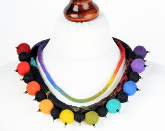 Designer necklace - ethnic necklace - art felt jewelry - felted wool necklace - multicolor African necklace - statement neck jewelry [N22]