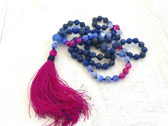 Lapis Lazuli Knotted Mala Beads, Pink Tassel Mala Necklace, Knotted 108 Bead Mala Necklace, Chakra Healing Jewelry, Spiritual Jewelry