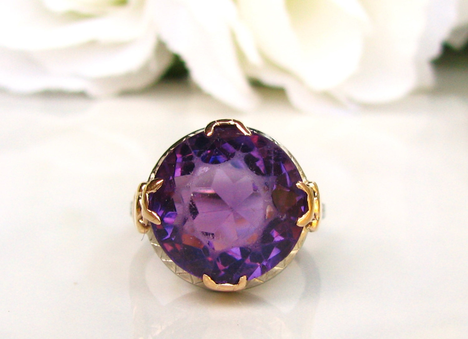 antique amethyst engagement ring 9 53ct cut