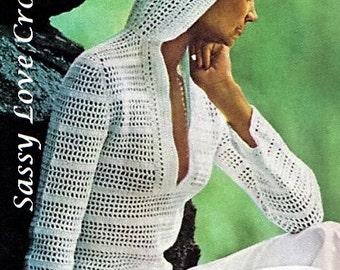 Crochet Pullover Tunic with hood PATTERN,Bikini Beach Coverup, Women's Hoodie, Top Filet Crochet Mesh Pullover, Digital Download