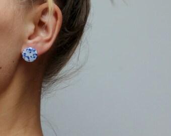Blue Ceramic stud earrings, porcelain ceramic jewelry, minimalist post earring, blue and white stud, gift for her, geometric stud earrings