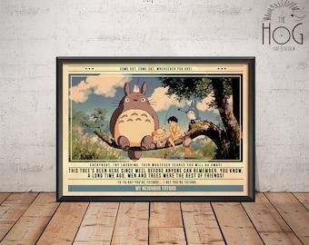 My Neighbor Totoro Poster - Quote Retro Movie Poster - Movie Print, Film Poster, Wall Art, Miyazaki Print, Totoro Print