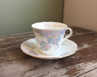 Colclough China Bone China Tea Cup & Saucer; Pastel Floral Pattern; Vintage Tea Set; Colclough Tea Set; English Bone China; Vintage Teacup