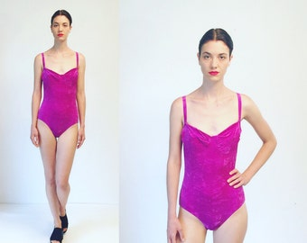 Vtg 80s 90s Purple Velvet Bathing Suit One Piece Swimsuit