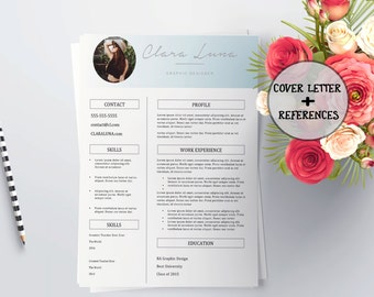 Resume template, resume template instant download, resume template word, modern resume template, creative resume, resume template with photo