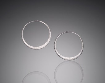 Medium Silver Hoop Earrings // Everyday 1.5 inch Sterling Silver Hoops