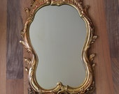 Vintage Hollywood Recency Syroco mirror - #4715 - rococo flowers, flourishes - gold with rose gold antiquing - vintage glamour