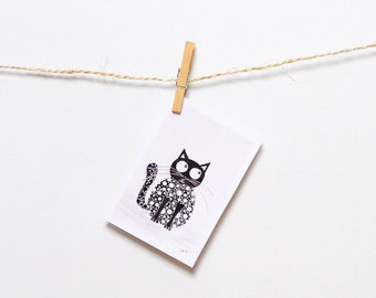 Blank cards Blank Greeting cards Cat Art cards with envelopes Black Cat birthday card for her Blank card Funny card All occassion card