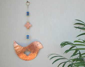 Boho Wall Hanging Bird Decor, Copper Bird Lover Gift, Hippie Metal Bird Decoration, Bird Ornament
