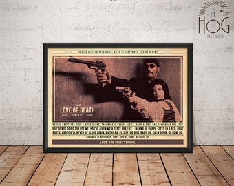 Leon The Professional Poster - Quote Retro Movie Poster - Movie Print, Film Poster, Wall Art