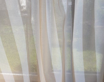 Linen curtains Striped curtains Gauze curtains Cotton small lace Beige ivory Window panel Kitchen panel Country cottage Modern window Decor