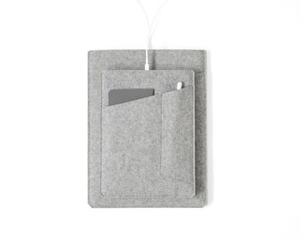 "Made in the USA - iPad Pro Sleeve with Pockets - Grey Felt for 10.5"" iPad Pro, 12.9"" iPad Pro or 9.7"" iPad Pro/Air"