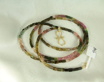 "Pink and green tourmaline 4mm rectangles 30"" gold filled necklace gemstone handmade item 846"