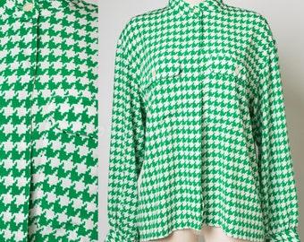 Vintage Liz Claiborne Top, Vintage Green Top, Vintage hounds tooth top, Green Blouse, Vintage 80s Top, Designer vintage - XL/1XL