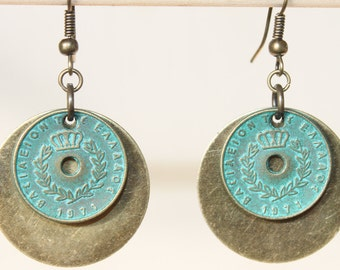 Bohemian Earrings Boho Earrings Verdigris Turquoise Brass Earrings Dangle Earrings Boho Jewelry Earrings Gift  for her Gift Ideas