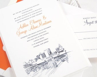 Newark Skyline Wedding Invitations Package (Sold in Sets of 10 Invitations, RSVP Cards + Envelopes)